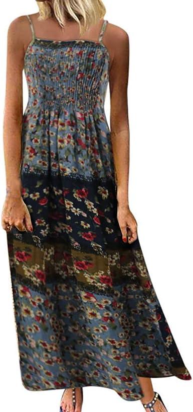 AIFGR Falda de señora Damas Vestido Bohemio con Estampado Floral ...
