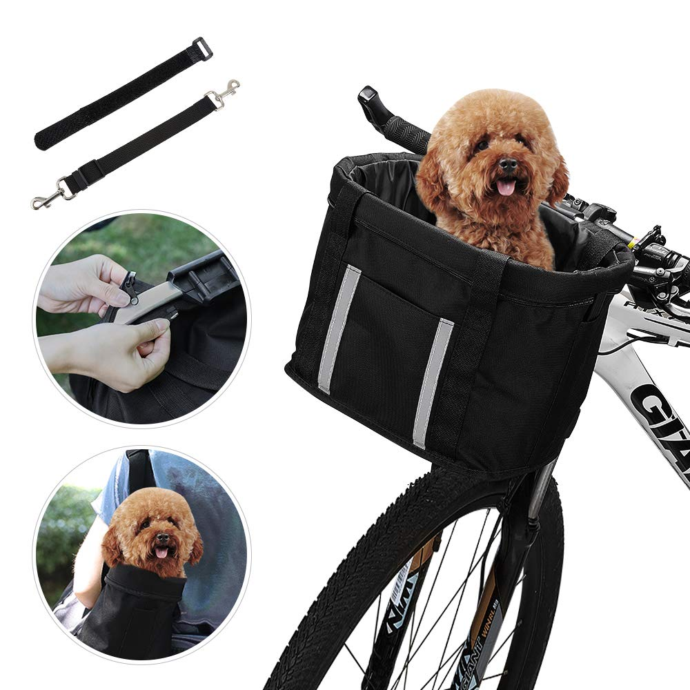 ANZOME Dogs Carrier Bike Basket, Handlebar Basket Folding Front Removable wiht Adjust Dog Seatbelts Bicycle Baset Quick Release Easy Install Detachable Cycling Bag Mountain Picnic Shopping by ANZOME (Image #1)
