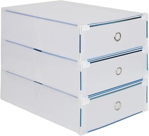 3 x Cajas para Botas Plegables de Plástico, Tipo Cajón, 52 x 30 x ...