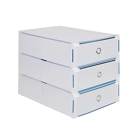 3 x Cajas para Botas Plegables de Plástico, Tipo Cajón, 52 x 30 x