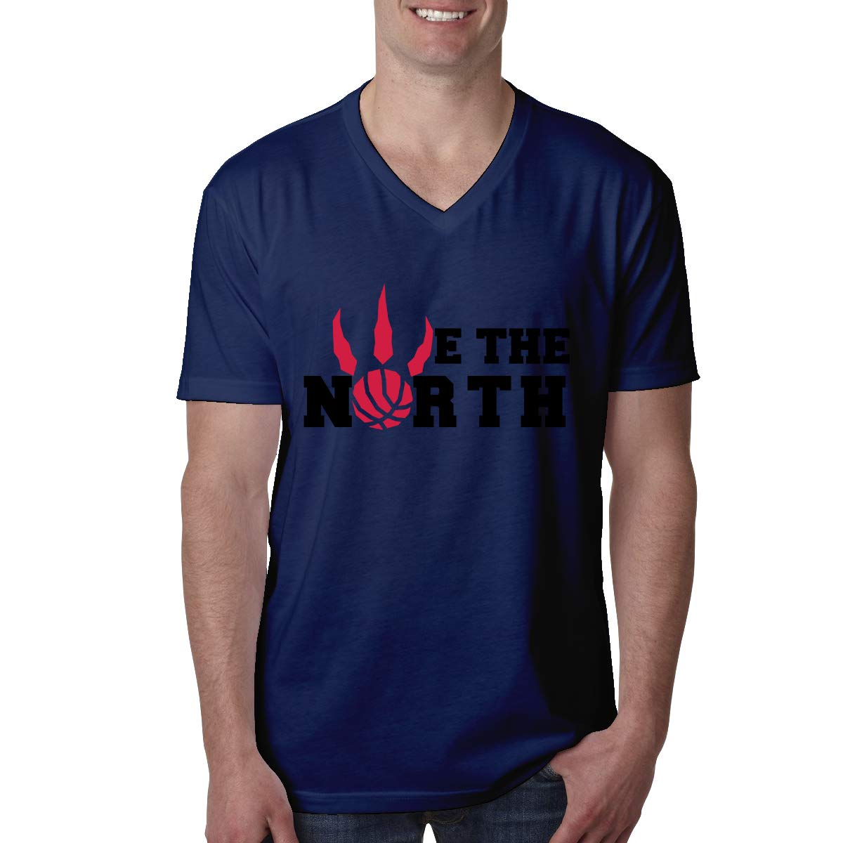 Novelty Funny T Shirt Black QINQ We The North Logo Toronto-Raptors Mens V Neck Short Sleeve T Shirt