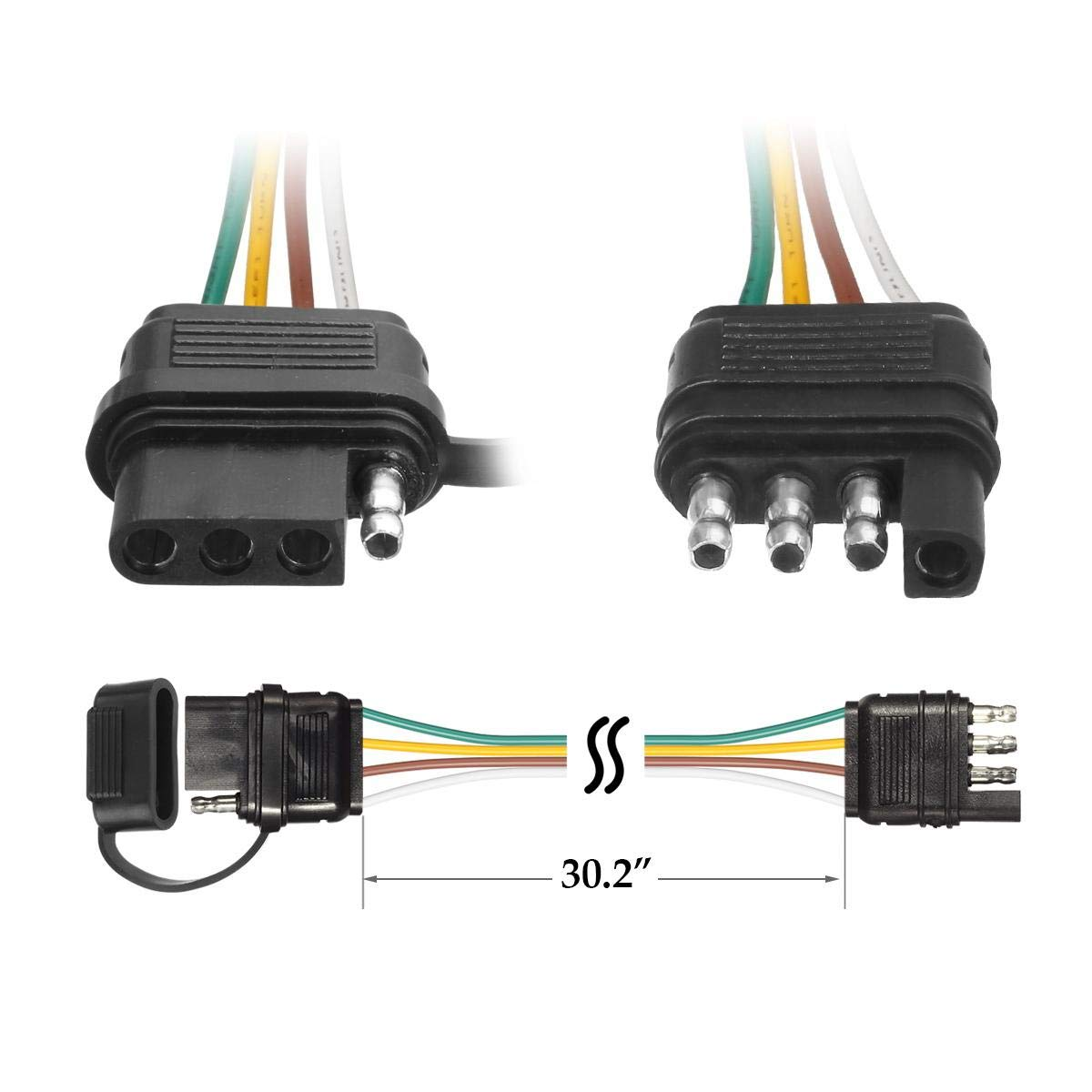 32 Inch 4 Way Flat 4 Pin Universal Wiring Connector 4 Pin Hitch Light Trailer Wiring Harness Extender with Rubber Cab for LED Brake Tailgate Light Bar Partsam Trailer Wire Extension Plug