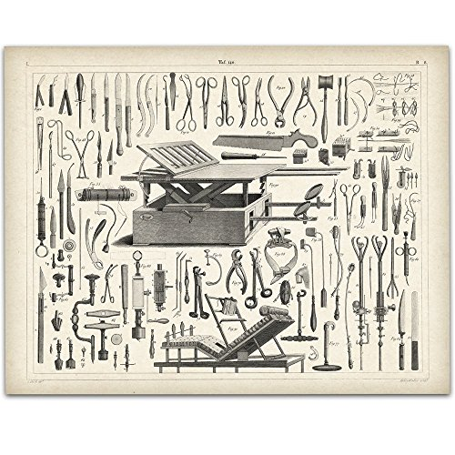 Vintage Medical Instruments Art Print - 11x14 Unframed Art Print - Great Gift for Medical and Nursing Students Antique Medical Instruments