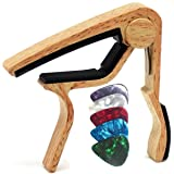 WINGO Guitar Capo for Acoustic and Electric Guitar with 5 Picks, Burlywood