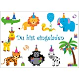 Lot de 10 cartes d'invitation (10654 party) :  pour la fête d'anniversaire au animaux zoo» pour anniversaire d'enfant ou de cirque/fête/enfant-invitation anniversaire pour filles et garçons.