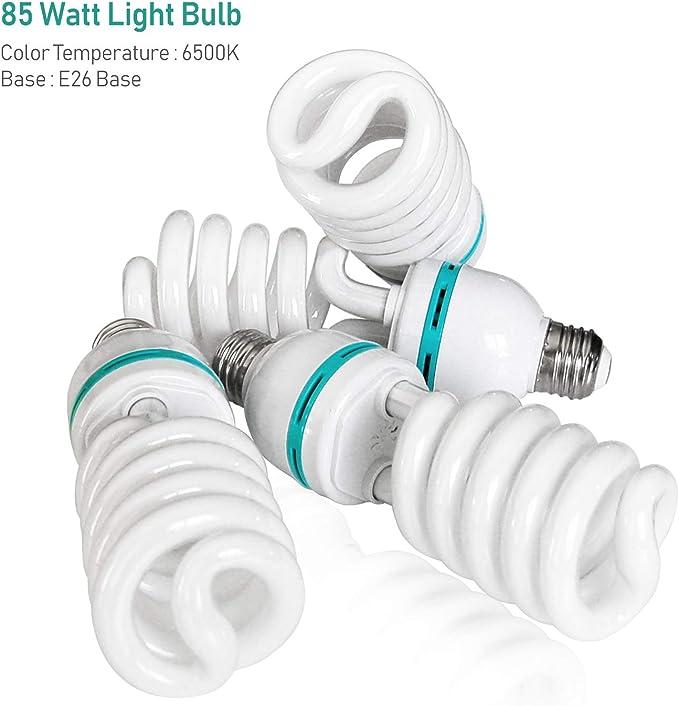 AGG3034 6-Pack Photo Studio 85W 6500K Full Spectrum Daylight Energy Saving Compact Fluorescent Spiral Bulb,Day Light Tone LimoStudio