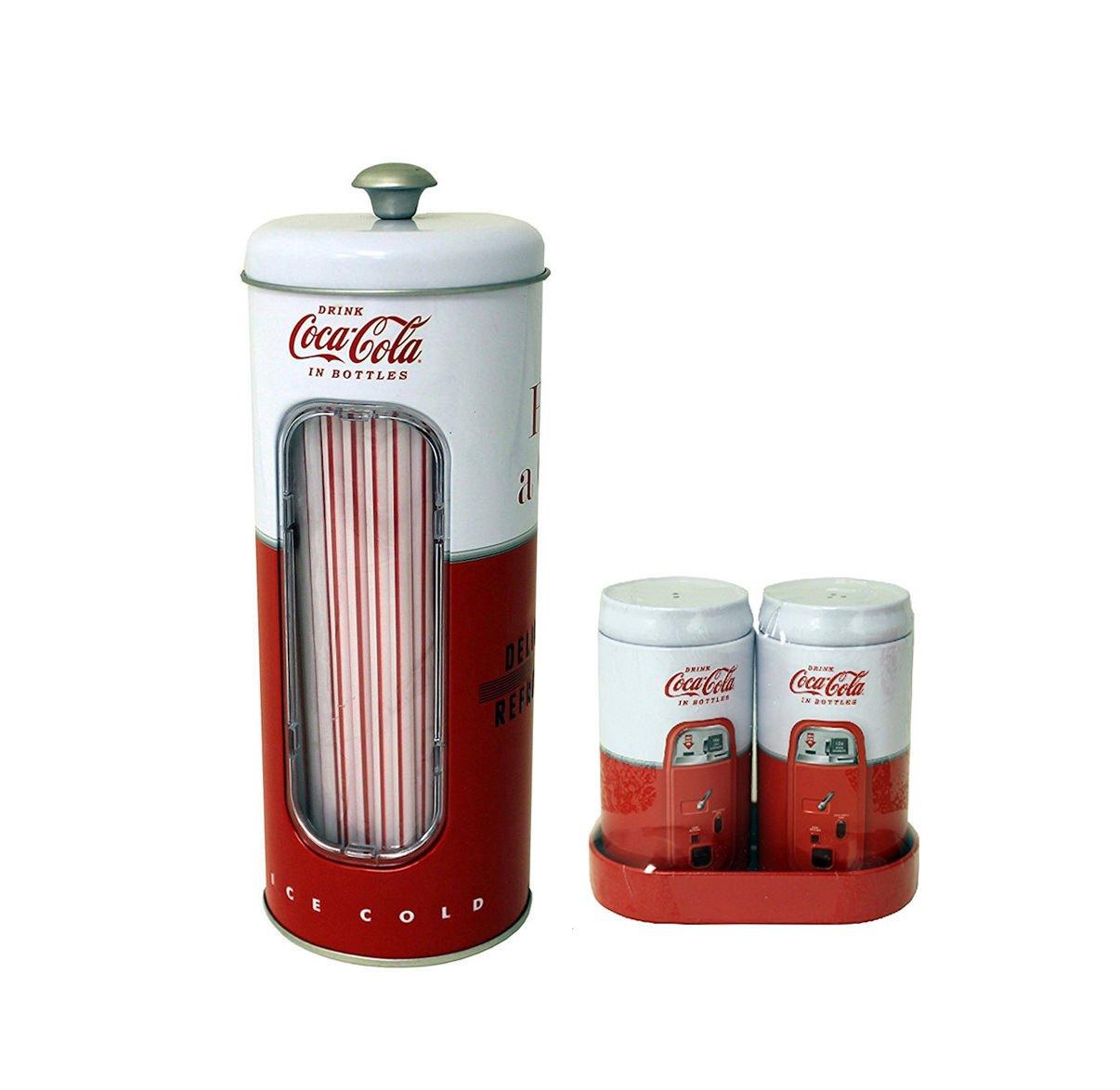Coca Cola Salt & Pepper Shaker and Straw Holder Set
