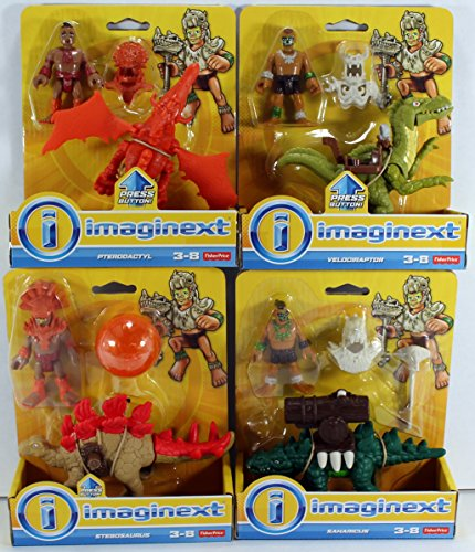 Fisher-Price Imaginext Dinosaur Figure Set of 4 - Saharicus, Stegosaurus, Velociraptor & Pterodactyl