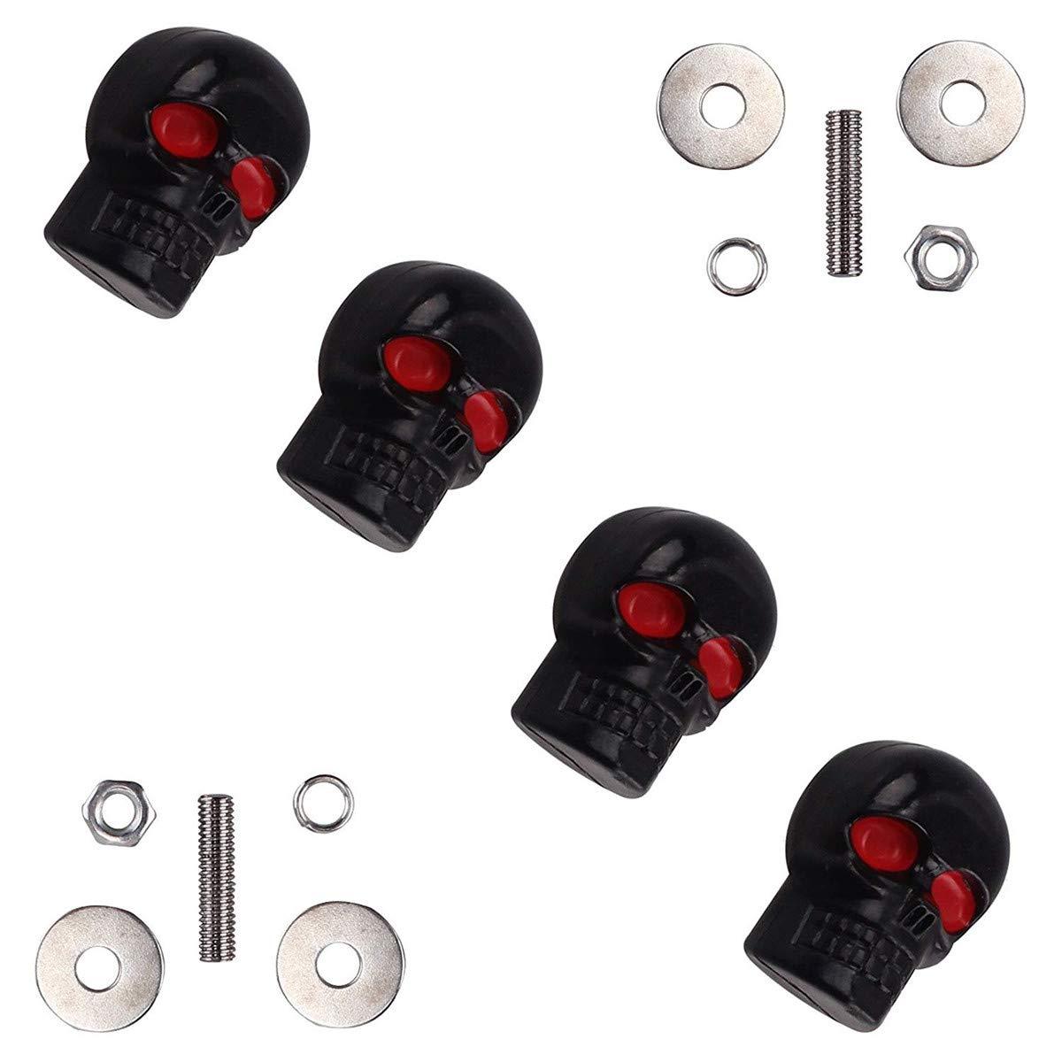 6 mm negro dise/ño de calavera roja cromada con forma de caballo de coraz/ón Juego de 4 tornillos de repuesto para placa de matr/ícula