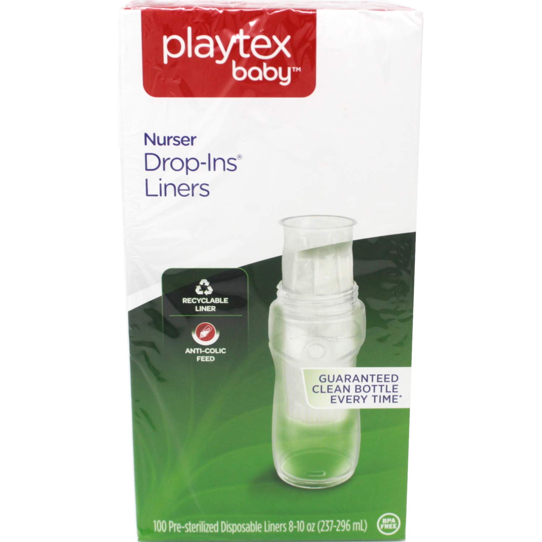 2 X Playtex Nurser Bottle Drop-Ins Disposable Liners 4oz 100 Pack ea 200 TOTAL