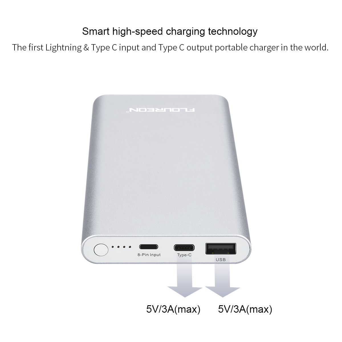 FLOUREON 12,000mAh Lighting Power Bank Portable Phone Charger with High-Speed Lighting Type C Input/Output, 3A Fast Charging External Battery Charger with High-Speed Lighting Type C Input/Output, 3A Fast Charging for iPhone 8/ 8 Plus/ X/ 7/