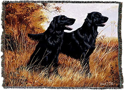 Pure Country Weavers | Flat-Coated Retriever Woven Tapestry Blanket with Fringe Cotton USA 72x54