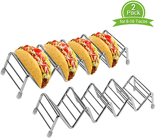 Dishwasher Safe Ejoyous Taco Holder Stand 2 Stainless Steel Kids Taco Rack for Hard or Soft Shell Tacos Hold 4-5 Tacos Each