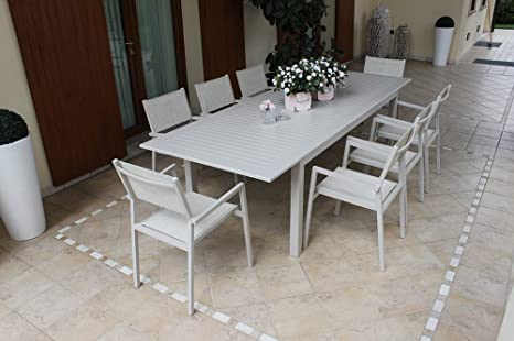 Tavolo Per Terrazzo Allungabile.Tavolo Da Esterno Allungabile 220 280x100 Cm Con 10 Poltrone In