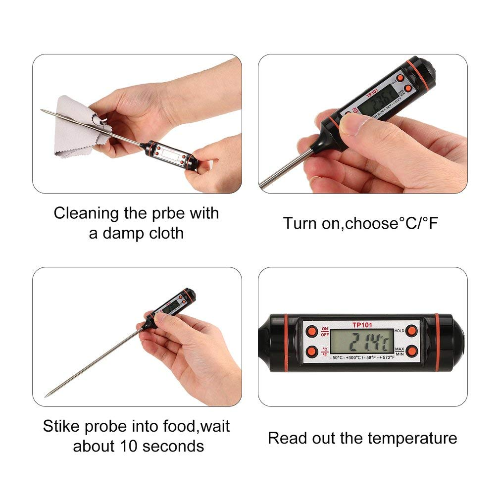 KinshopS Termometro da Cucina Digitale con sonda Lunga per Acqua da Cucina Barbecue per Barbecue