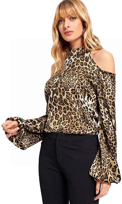 Good dress Camisa con Hombros Descubiertos con Estampado de Leopardo Salvaje de Otoño e Invierno para Mujer, Estampado de Leopardo, SG: Amazon.es: Deportes y aire libre