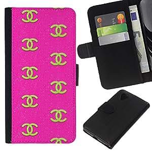 KLONGSHOP // Tirón de la caja Cartera de cuero con ranuras para tarjetas - Diseño de Moda Pink Ropa Oro - LG Nexus 5 D820 D821 //