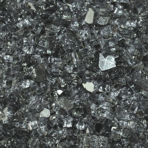 Fire Glass for Fire Pits Gray 1/4'' for Reflective Glass Pellets (20Lbs)