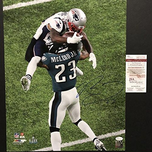 Autographed/Signed Rodney McLeod Jr. Philadelphia Eagles Super Bowl LII 52 Hit Champions 16x20 Football Photo JSA (Junior Eagle)