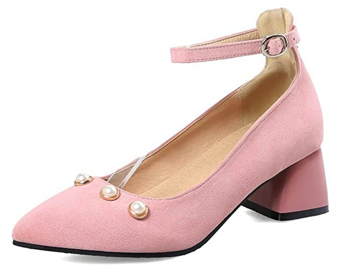 SHOWHOW Damen Perle Spitz Zehe Blockabsatz Mary Jane Halbschuh Pumps Pink 38 EU