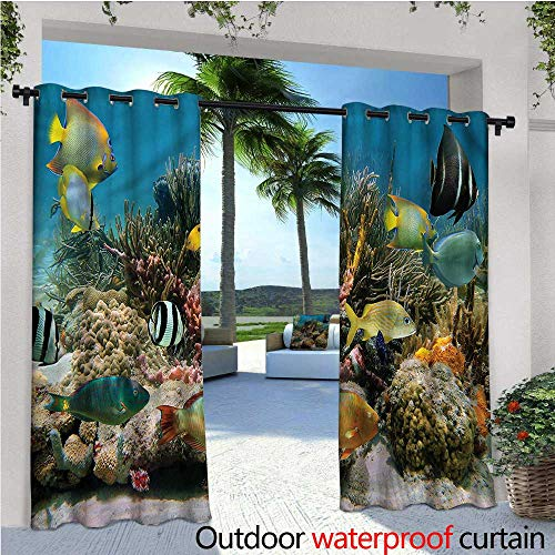 Colony Bay 1 Light - warmfamily Ocean Fashions Drape Colorful Coral Colony on Reef Outdoor Curtain Waterproof Rustproof Grommet Drape W108 x L108