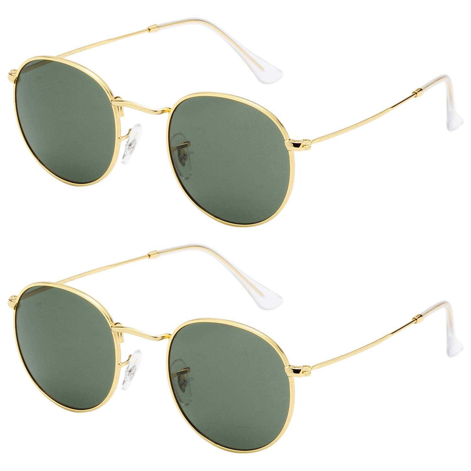 fa49c1a020a6 LianSan Classic Metal Frame Round Circle Mirrored Sunglasses with Glasses  Lenses for Men and Women 3447 Green Glasses Lenses-2 Pack at Amazon Women s  ...