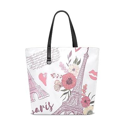 Amazon.com: giovanior Torre Eiffel de París floral bolsa de ...