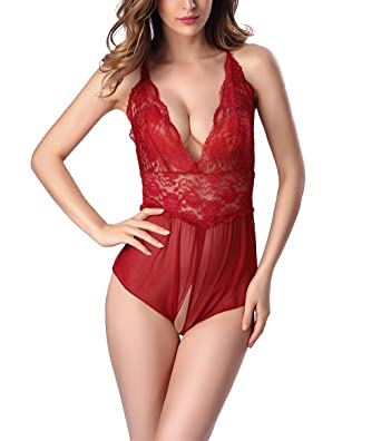 Women Lingerie Babydoll Crotchless Teddy Nightie Leotard Body Suit Stocking zi