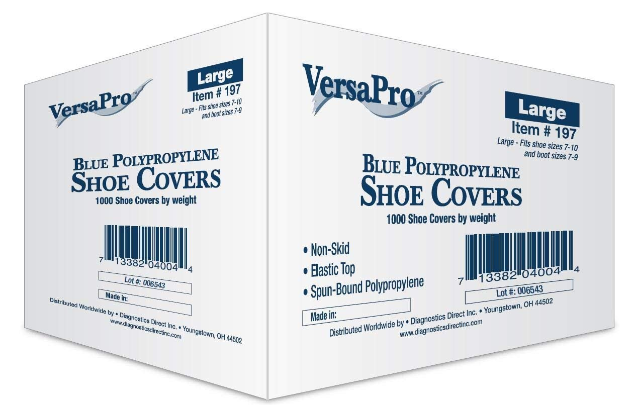 VersaPro Medical Booties Shoe Covers Non Slip Package of 50 Pair - 100 Covers - Blue (Pack of 10) by VersaPro