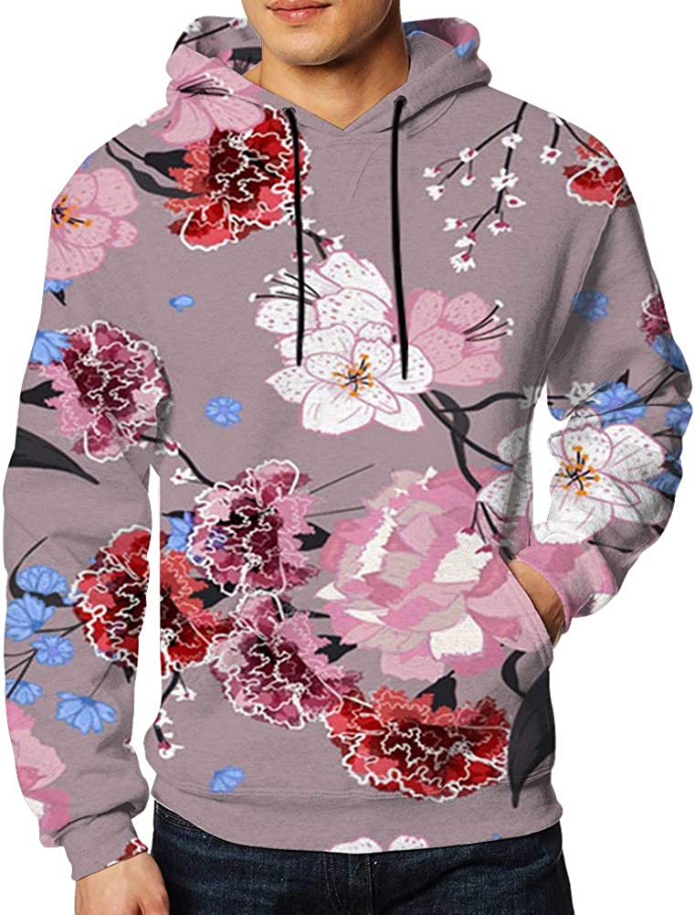 Garden Oriental Blooming Motifs Floral Mens 3D Printed Pullover Long Sleeve Hooded Sweatshirts with Pockets