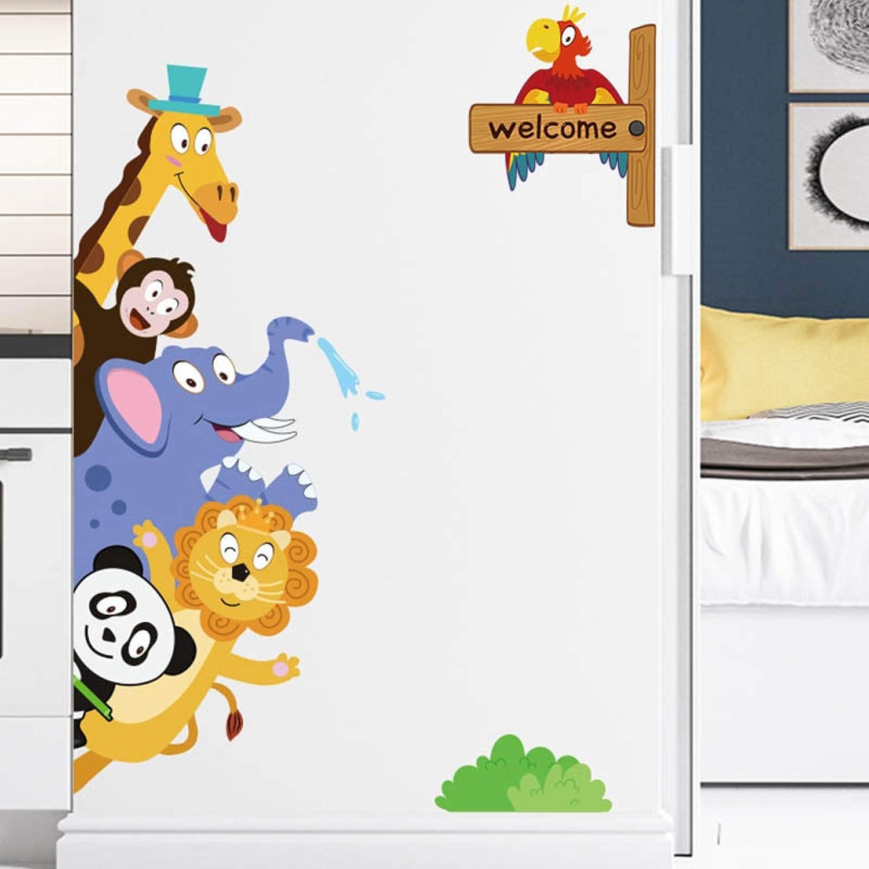 WINDVALE Cartoon Animals Wall Decals Giraffe Elephants Wall Stickers Removable Peel and Stick Art Murals for Kids Rooms Baby Room Nursery Wardrobe Living Room Bedroom Door Home Decoration (Animal)