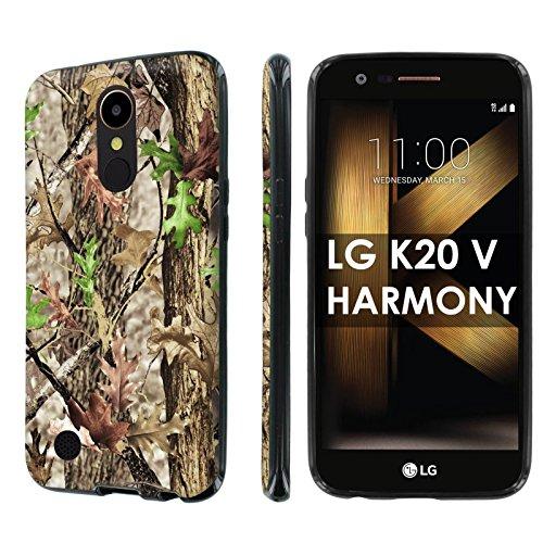 LG [K20 V/ K20 plus/ Harmony] [SlickCandy] [Black] Slim Fit Gummy TPU Phone Case [Screen Protector] - [Hunter Tree Camouflage] for LG [K20 V/ K20 plus] LG Harmony ()