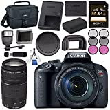 Canon EOS Rebel T7i DSLR Camera with 18-135mm Lens 1894C003 + Sony 64GB SDXC Card + LPE-17 Lithium Ion Battery + Flash + Canon Bag + Card Reader + Memory Card Wallet + Canon EF 75-300mm LensBundle