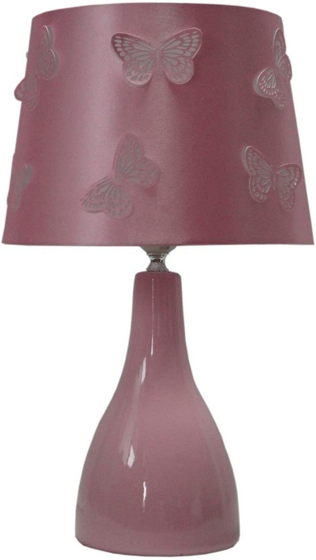 Butterfly Cut Out Table Ceramic Lamp Pink Shade Bedside Desk