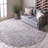 Unique Loom Outdoor Oasis Collection Modern Chevron Transitional Indoor and Outdoor Flatweave Dark Gray Round Rug (8' 0 x 8' 0)