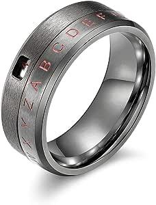 JAJAFOOK 8MM Men's Stainless Steel Alphabet Number Fidget Spinner Ring Decoder Design Silver, Black, Gold