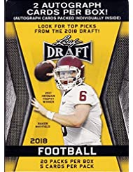 2018 LEAF NFL DRAFT Series Factory Sealed Blaster Box of Packs with 2 GUARANTEED Autographed Cards per box! One of the First 2018 Football Products on the market!