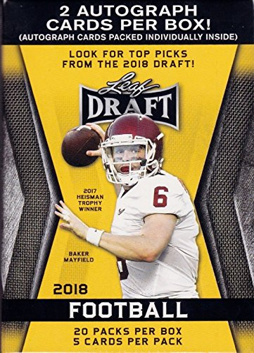 Score Series 1 Football - 2018 LEAF NFL DRAFT Series Factory Sealed Blaster Box of Packs with 2 GUARANTEED Autographed Cards per box! One of the First 2018 Football Products on the market!