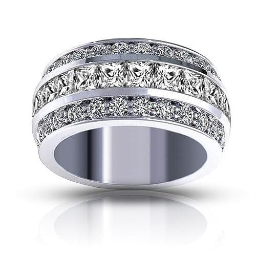 7cc5733020d 3.00 ct Ladies Three Row Round And Princess Cut Diamond Anniversary Wedding  Band in 14 kt