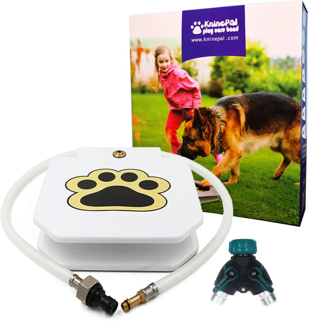 KninePal Outdoor Dog Fountain Step On, Paw Activated Dog Sprinkler Toy, Brass Valve, Anti-Rust Steel Pedals, Leakage Free, for Small/Medium/Large Dogs, Bonus Connector and Y Splitter Included
