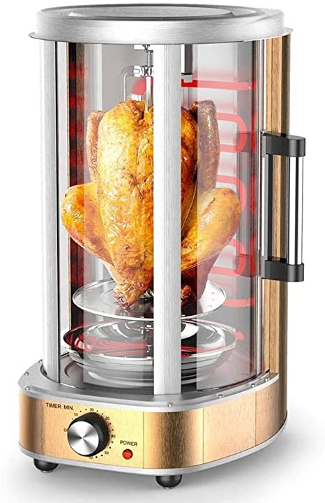 21L Horno Vertical Rejilla Grill Vertical para cocción de kebab pinchos pollo – Ventana grande, puerta corredera de cristal, temporizador de 60 minutos con interruptor automático Oro: Amazon.es: Deportes y aire libre
