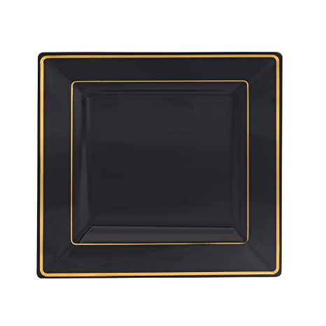 Kaya Collection - Disposable Black with Gold Rim Plastic Square 9.5\u0026quot; Dinner Plates - Pack  sc 1 st  Amazon.com & Amazon.com: Kaya Collection - Disposable Black with Gold Rim Plastic ...