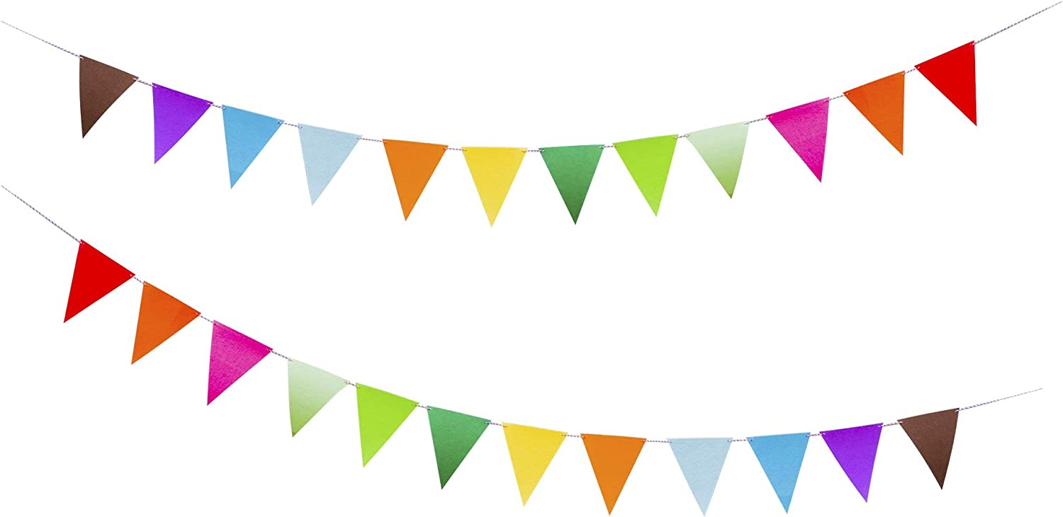 Rainbow Felt Fabric Bunting, 24 Pcs/ 16.4 Feet(2 Pack) Decoration Banners for Birthday Party, Baby Shower, Window Decorations and Children's Play Room Decorations