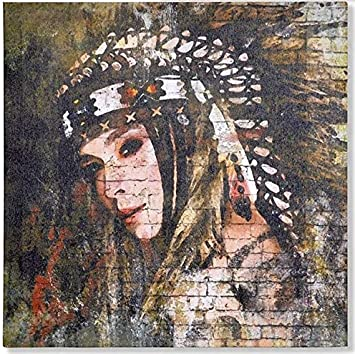 M1 Indien dAm/érique AVENUELAFAYETTE Cadre Toile Tableau Indienne 40 x 40 cm Femme