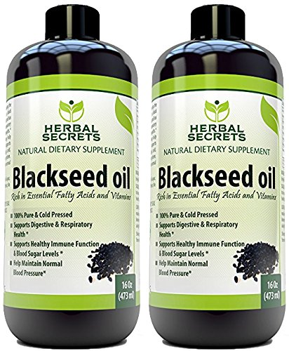 Herbal Secrets Black Seed Oil Natural Dietary Supplement - Cold Pressed Black Cumin Seed Oil from 100% Genuine Nigella Sativa - 16 oz Bottle (2 Pack) by Herbal Secrets
