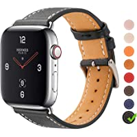 Finetop Compatible with Apple Watch Band 38mm 40mm 42mm 44mm, Premium Genuine Leather Replacement Band iWatch Strap with Stainless Steel Adapters Compatible with Apple Watch Series 4/3/2/1