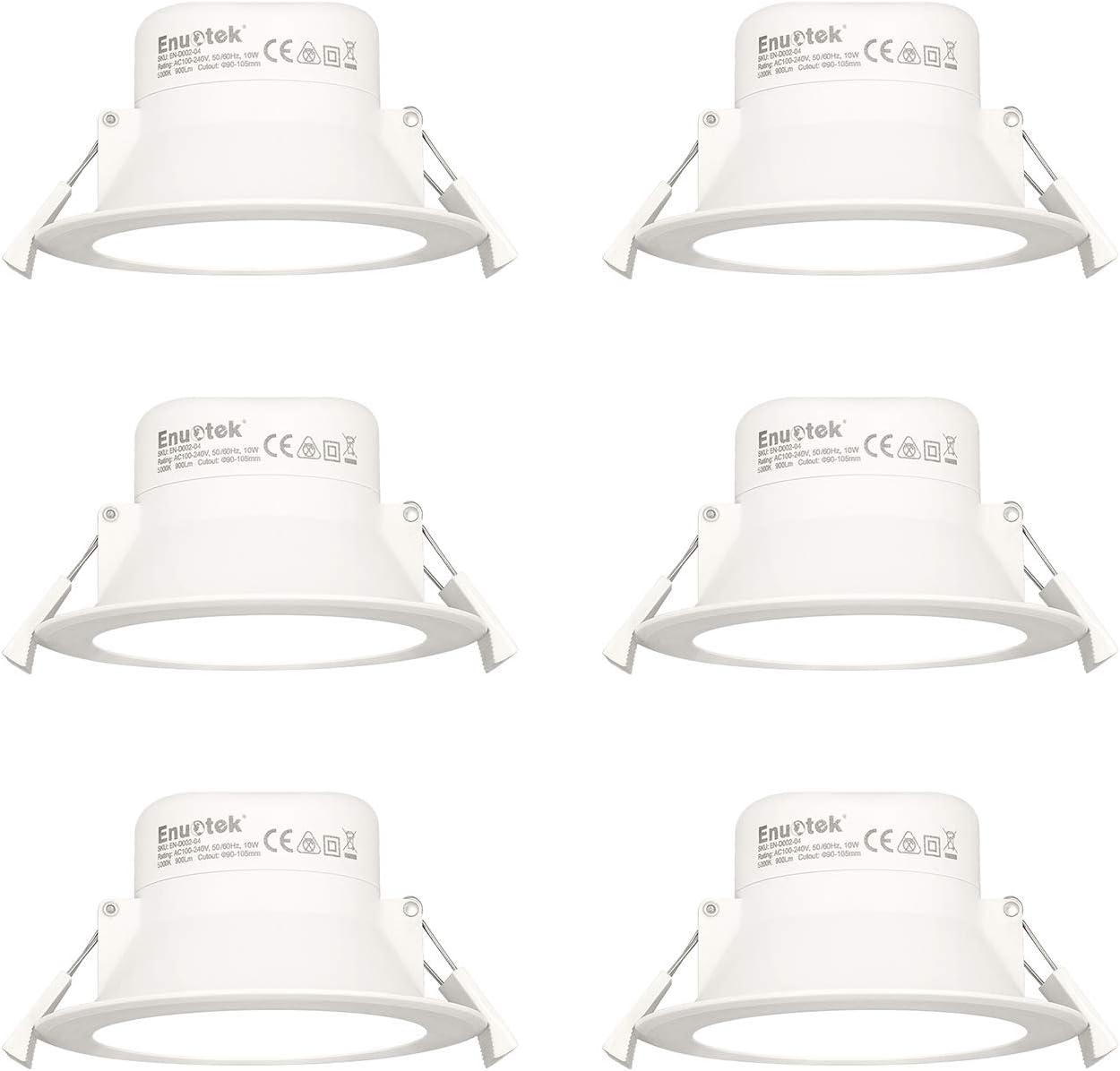 Lamparas Plafones Focos LED Empotrables de Techo Downlights LED 10W Luz Fria 5000K IP44 AC100~240V Agujero del Techo Ø90-105mm Pack de 6 de Enuotek