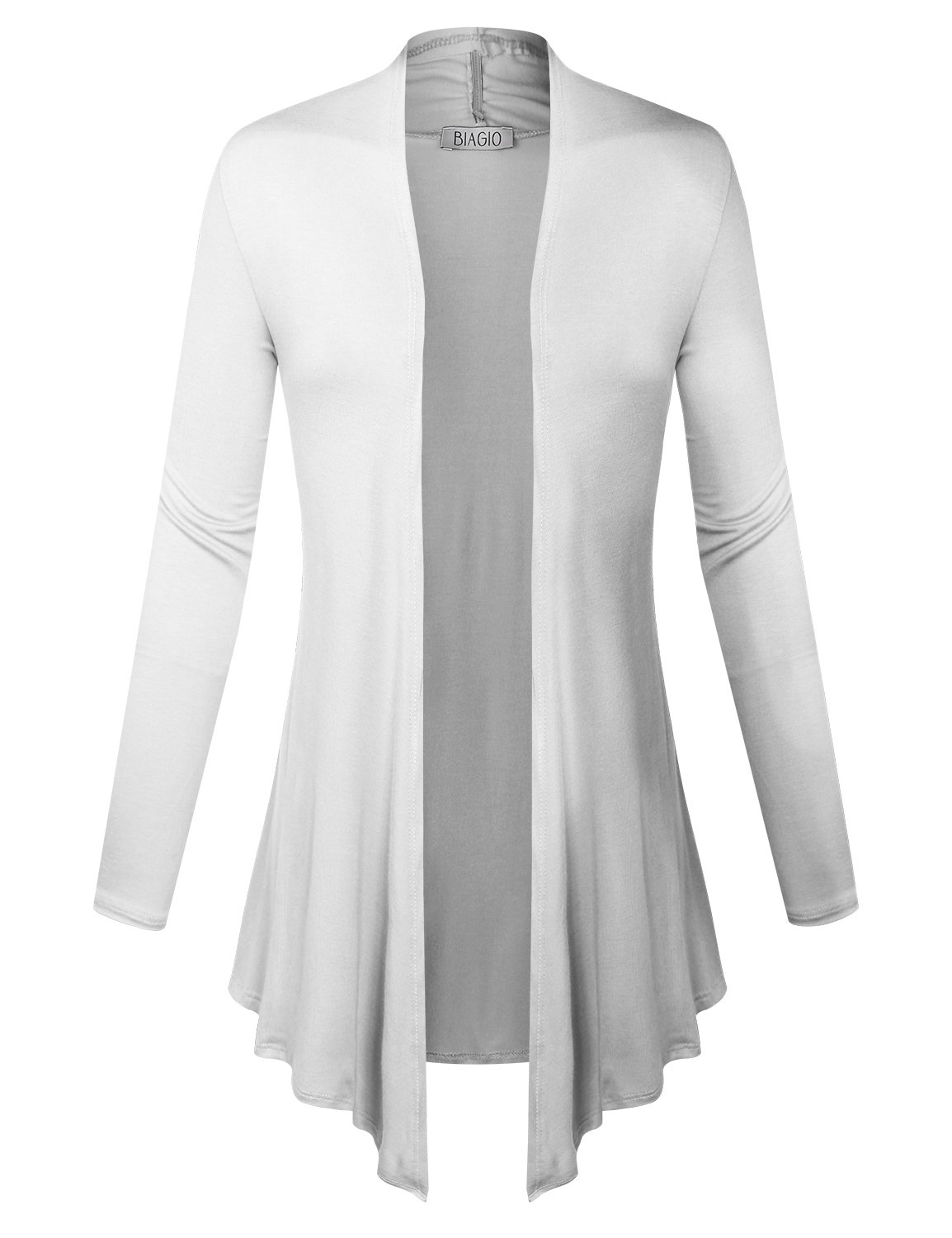 BIADANI Women Open Front Lightweight Cardigan with Side Pockets White Small