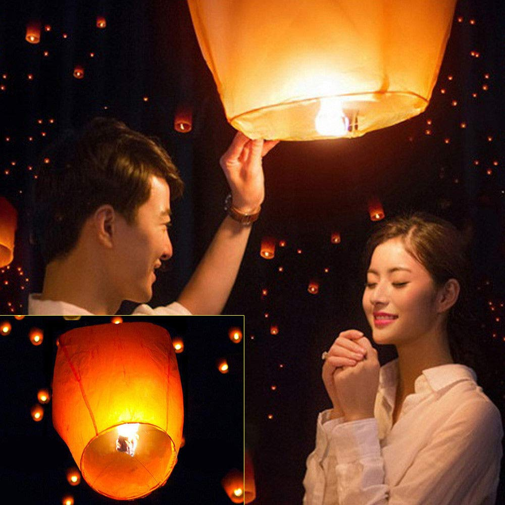 Chinese Sky Lantern,50 PCS Eco Friendly, 100% Biodegradable. Wire-Free Paper Chinese Kongming Lanterns for Wedding Birthday Party Christmas Wish by KANING