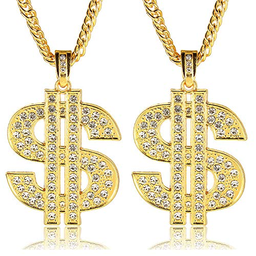 VALIJINA 2Pcs Gold Plated Dollar Sign Pendant Necklace for Men Women Hip Hop Rapper Dollar Sign Pendant Money Necklace Punk Style Necklace]()